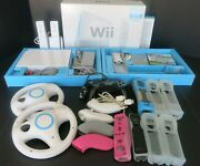 Nintendo Wii Game Console Bundle W/ Remotes Wheels Nunchucks Charger More