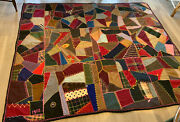 Antique/vintage Patchwork Crazy Quilt, Wool, Tweeds, Suitings, Embroidery, 1903