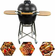 Charapid 19 Barbecue Charcoal Grill Outdoor Ceramic Kamado Grill With Side T...