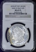 1878 8tf Morgan Dollar Ngc Ms63pl - Nicely Toned - Great Color Rainbow Prooflike