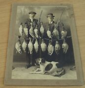 Circa 1900 And039cabinet Cardand039 Photo Of Duck Hunters W/their Dog And Shotguns
