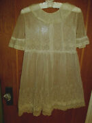 Sweet Antique 1920s French Net Lace Young Girls Dress W/under Slipbust 28