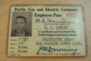 1942 Wwii And039restricted Areasand039 Employee Passpacific Gas And Electric Photo/signed