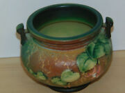 Vintage Roseville Pottery Fuchsia Jardiniere 645-5-brown And Green-mint W/sticker