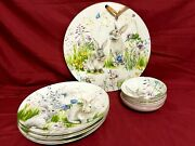 Williams Sonoma Floral Meadow Bunny Lot Dinner Plates Fruit Bowls And Wall Plate