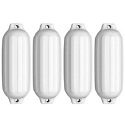 4 Ribbed Marine 8.5and039and039x 27and039and039boat Fenders Vinyl Bumper Dock Shield Durable White