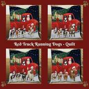 Christmas Express Delivery Red Truck Running Dog Cat Pet Lovers Bed Quilt