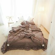 4pcs Washed Cotton Bedding Set Duvet Cover Bed Sheet Pillowcases Queen King Size