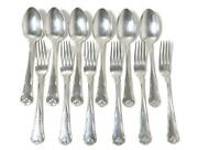Silver Dinner Spoons And Forks For 6 Persons 12 Pcs. Herregaard. Denmark