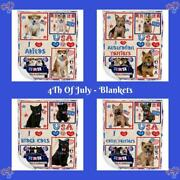 4th July Independence Day I Love Usa Dog Cat Pet Woven Blanket