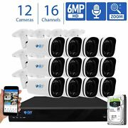 16 Channel Nvr 12 X 6mp Poe Ip Motorized Zoom Microphone Security Camera System