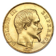 France 1857a Gold 50 Francs Napoleon Au-unc About Uncirculated French Coin .4667