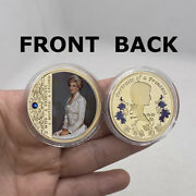 Beautiful British Diana Princess Commemorative Gold Plated Coin With Diamond
