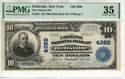 1902 10 Citizens National Banknote Currency Wellsville New York Pmg Ch Vf 35