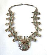 Begay Bee Gay Thunderbird Sterling Silver Mosaic Turquoise Coral Necklacel876
