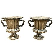 Pair Sheffield Plated English Wine Coolers C. 1840