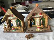 Vintage 2 Lot Wood Germany Gebrauchsanweisung Weather Cabin Thermometer