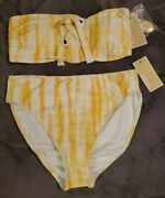 Tie-dye Two Piece Swimsuit Top And Bottom Saffron Size L Nwt 💟