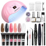 Modelones Poly Extension Gel Nail Kit - 6 Colors With 48w Nail Lamp Slip Glitter