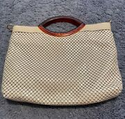 Whiting And Davis Womens Clutch Handbag Ivory Geometric Snap Button Top Handle S