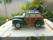 Vintage Woody Station-wagon-surfer Cookie Jar 1950's By Clay Art