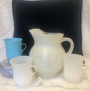 1960andrsquos Genuine Kool Aid Plastic Pitcher And3 Cups 1 Blue 2 White Handles Vintage