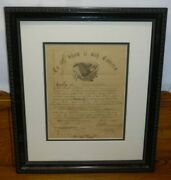Antique 1865 Civil War Military Discharge Henry F Hopkins Cavalry New Hampshire