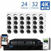 32 Channel 4k Nvr 24 8mp 2160p Home Ip Poe Dome Security Camera System 8tb Hdd