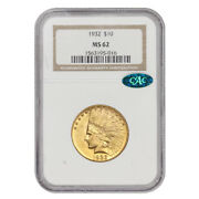 1932 10 Gold Indian Head Eagle Ngc Ms62 Cac Certified Philadelphia Coin