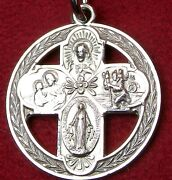 Vintage Sterling Silver Victory Wreath Wwii Miraculous Medal War Cross Crucifix