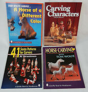 4 Wood Carving Books Characters, Horse Carving, 41santa Patterns For Carvers