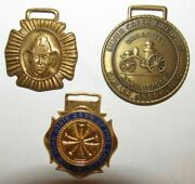 Lot Of 3 Vintage Firefighter Watch Fobs - New York Association Of Fire Chiefs