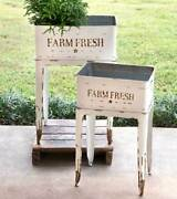 Garden Stands Planters Country Farmhouse Vintage Style Distressed White Flower