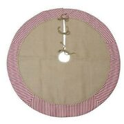 Burlap With Ticking Christmas Tree Skirt 48 Inch New