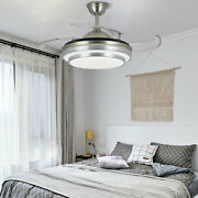 36and039and039 Dimmable Ceiling Fan Light Led Chandelier Lamp Retractable Blades W/ Remote