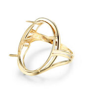 Engagement Rings Gift 18k Yellow Gold Antique Eternal Prong Setting Oval 23x17mm
