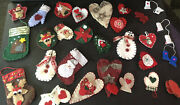 Lot 2 With 29 Handmade Felt Christmas Ornaments Country Primitive Mixed