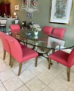 Custom Glass Oval Dining Table With Wrought Iron Frame