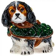 Tri Color Cavalier King Charles Spaniel In Quilted Coat Polish Glass Ornament