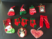 Lot 4 With 11 Vintage Christmas Ornaments Country Primitive Mixed
