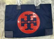 @ship From Tx Large Nylon Tote Bag Navy Cherry Apple Nwt 36757