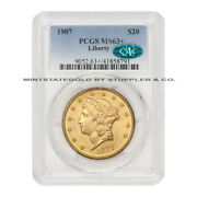 1907 20 Gold Liberty Head Double Eagle Pcgs Ms63+ Cac Certified Choice Graded