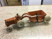 Vintage Arcade Cast Iron Allis Chalmers Tractor And Dump Trailer Toy Vehicle Gc1