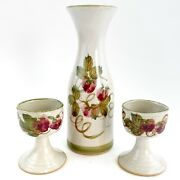 Vintage Art Pottery Carafe And 2 Wine Goblets Bennett Welsh Pacific 1970 Barware