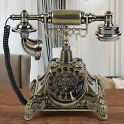 Vintage Rotary Dialing Telephone Antique Desk Wired Phone Gold Home Decor Sale