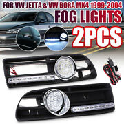 Led Front Bumper Grille Fog Light With Drl Lamp +wiring For Vw/jetta Bora Mk4