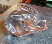 Vintage Murano Style Dusky Pink Lilac Art Glass Bunny Rabbit Figure Paperweight