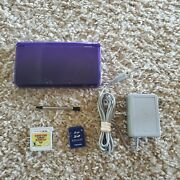 Midnight Purple Nintendo 3ds System Console W/ Stylus Charger Tested Donkey Kong