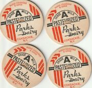 Lot Of 4 Milk Bottle Caps. Parks Dairy. Coxsackie, Ny.