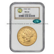 1904 20 Gold Liberty Ngc Ms64 Pq Cac Certified Pq Approved Choice Graded
